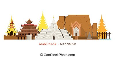 Mandalay, Myanmar Architecture Landmarks Skyline -...