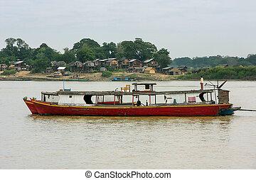 mandalay, myanmar, bois, ancré, ayeyarwady, bateaux, rivière