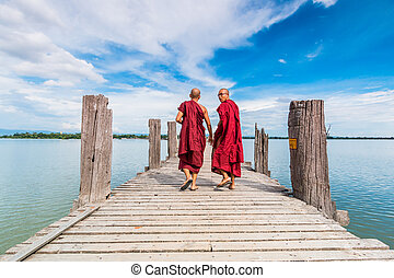 Mandalay - U Bein Bridge, Myanmar-Aug 26th, 2014: Myanmar...