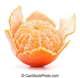 mandarín, pelado, mandarina, o, fruta