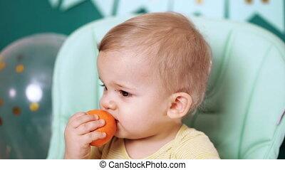 mandarijn, baby stoel, eyes, jarig, groot, gekke , toddler, ...