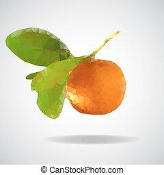 mandarijn, laag, poly