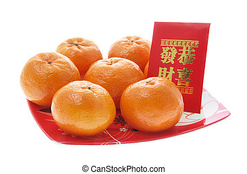 Mandarin and Red Packet on Isolated White Background