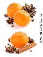 mandarin and spices on white