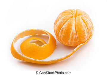 mandarin, descascado, fruta