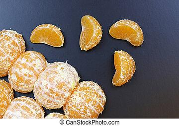 mandarin, frugt, afsondre, sort