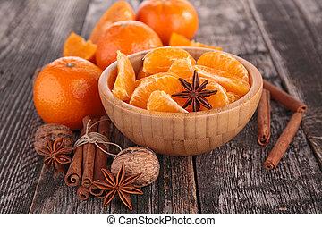 mandarin, fruit, mandarine, ou, épices