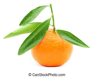 Mandarin fruit with leaf isolated on white