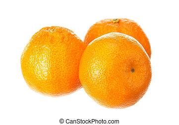 Mandarin fruits - Fresh ripe mandarin fruits on white...