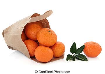 mandarin, fruta, em, um, saco