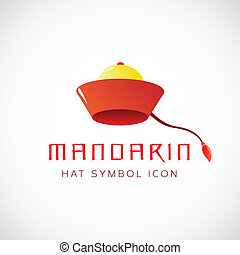 Mandarin Hat Vector Concept Symbol Icon