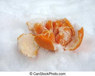 Mandarin on the snow