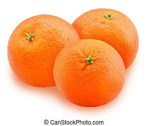 Mandarin orange fruit three Isolated on white background...
