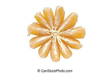 mandarin orange isolated on white background slices of...