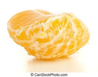 mandarin orange peeled isolated on white background