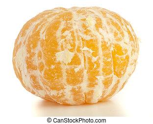 mandarin orange peeled on a white background
