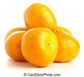 mandarin orange stack on a white background