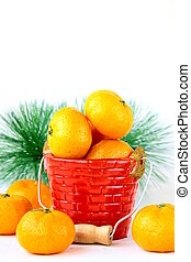 Mandarin oranges on a white