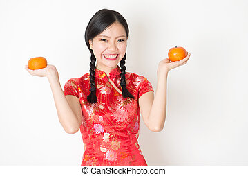 mandarin, oriental, tenue, orange, girl, qipao, rouges