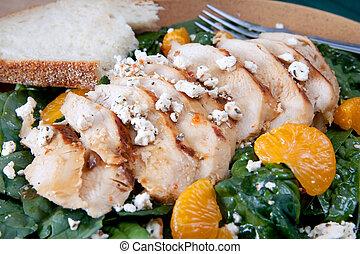 mandarin, salade poulet