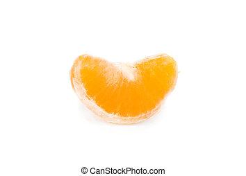 Mandarin slice (heap) on white background