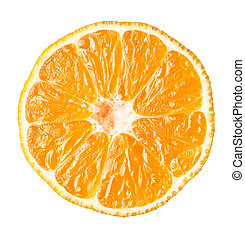mandarin slice isolated. clipping path
