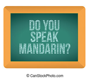 mandarin, tableau noir, vous, illustration, parler