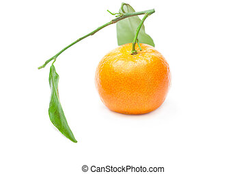 mandarin with green leaves isolated on white