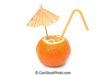 mandarin with umbrella and straw
