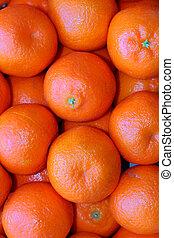 mandarina, cajón, naranjas, fruta, fresco, acción