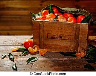 mandarinas, cajón, tabla de madera, sabroso