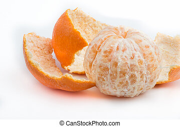 Mandarine - Close up of mandarine pieces on white background