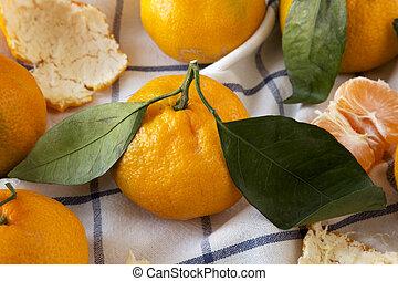 mandarinen, reif, tuch, frisch, close-up., ansicht., seite