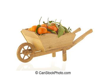 mandarines, brouette