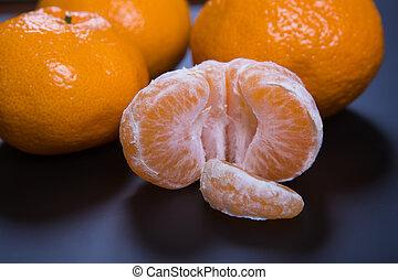 mandarini, su, sfondo nero