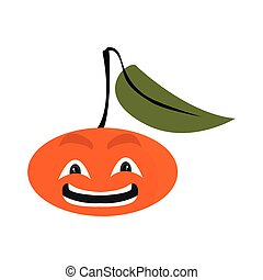 mandarino, cartone animato, felice