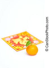 mandarino, cima, uno, anno nuovo cinese, decorazione