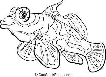 mandarino, fish, coloritura, pagina