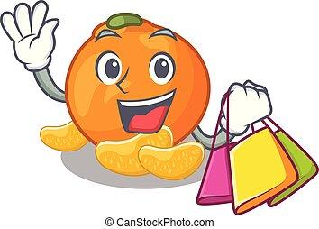 mandarino, memoriz., shopping, cartone animato, frigorifero
