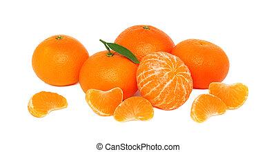 mandarins, branca, pilha, fundo, maduro