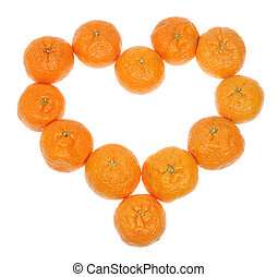 Mandarins in the form of heart