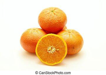 Mandarins on white background