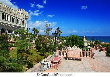 MANDATORICCIO, ITALY - JULY 31: Castello Flotta is situated...