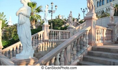 Instep motion on stone stairs in park of Castello Flotta...