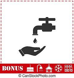 mandatory, 手, 平ら, アイコン, あなたの, 洗いなさい