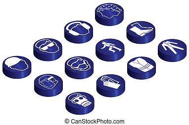Mandatory construction related glossy isometric button set...
