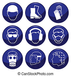 Mandatory construction related icon set each individually ...