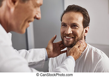 mandatory, examen, de, ganglions lymphatiques, dans, docteur, bureau