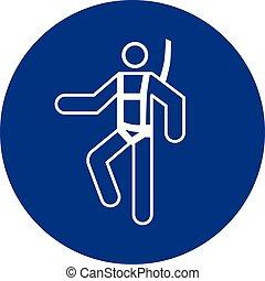 Mandatory sign vector - Wear safety harness symbol, label, sticker