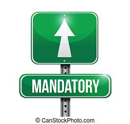 mandatory, sinal estrada, ilustração, desenho